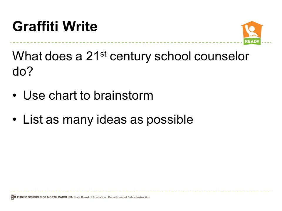 Graffiti Write What does a 21st century school counselor do