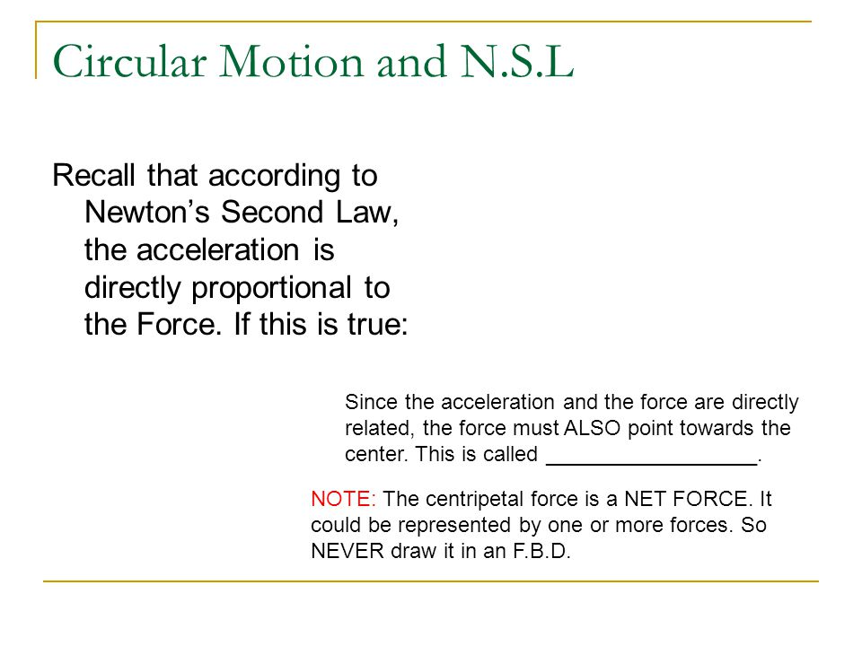 Circular Motion and N.S.L