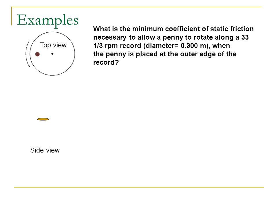 Examples What is the minimum coefficient of static friction necessary to allow a penny to rotate along a 33 1/3 rpm record (diameter= 0.300 m), when.
