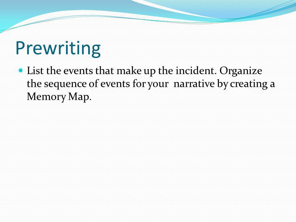 Prewriting List the events that make up the incident.
