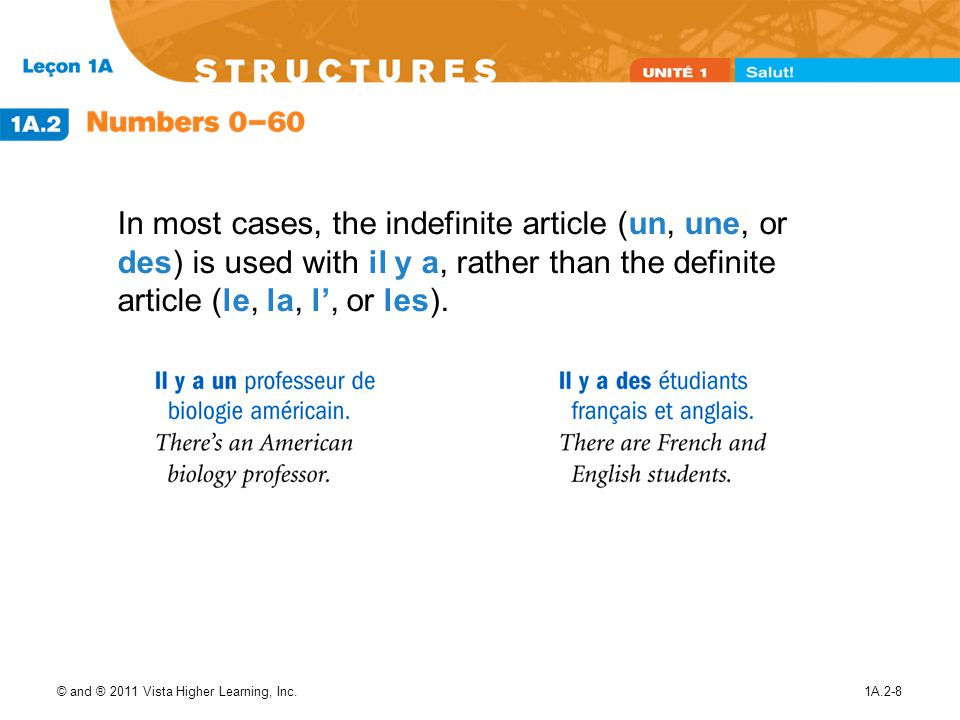 In most cases, the indefinite article (un, une, or des) is used with il y a, rather than the definite article (le, la, l', or les).