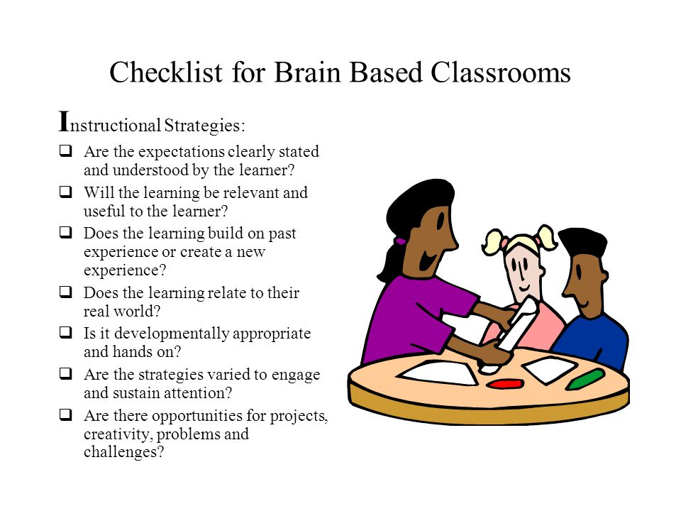 Checklist for Brain Based Classrooms