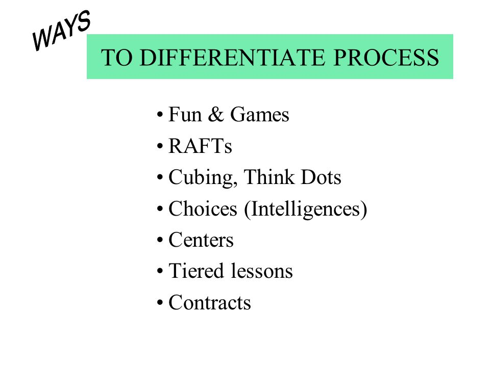 TO DIFFERENTIATE PROCESS