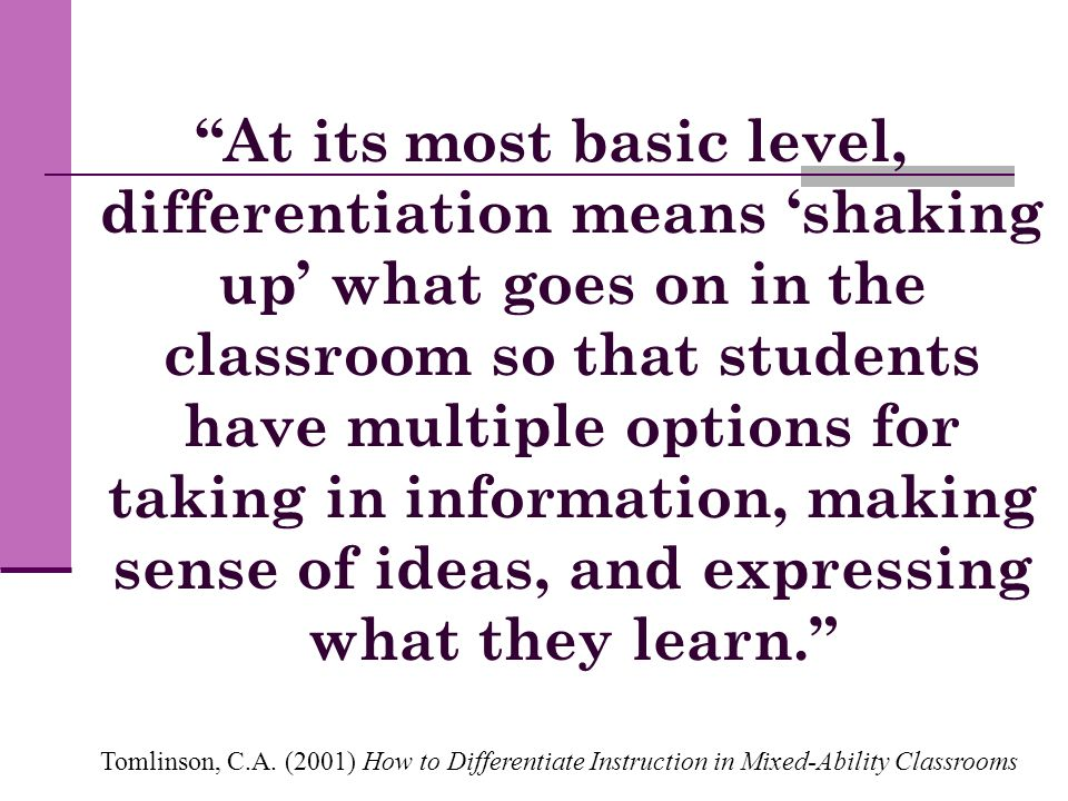 At its most basic level, differentiation means 'shaking up' what goes on in the classroom so that students have multiple options for taking in information, making sense of ideas, and expressing what they learn.