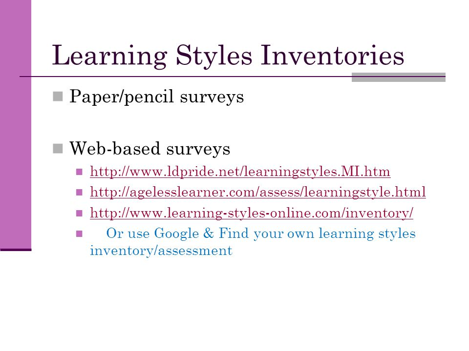 essay on learning styles inventory What's your learning style many people use a combination of learning styles, whereas others learn best by using just one want to know your learning style.