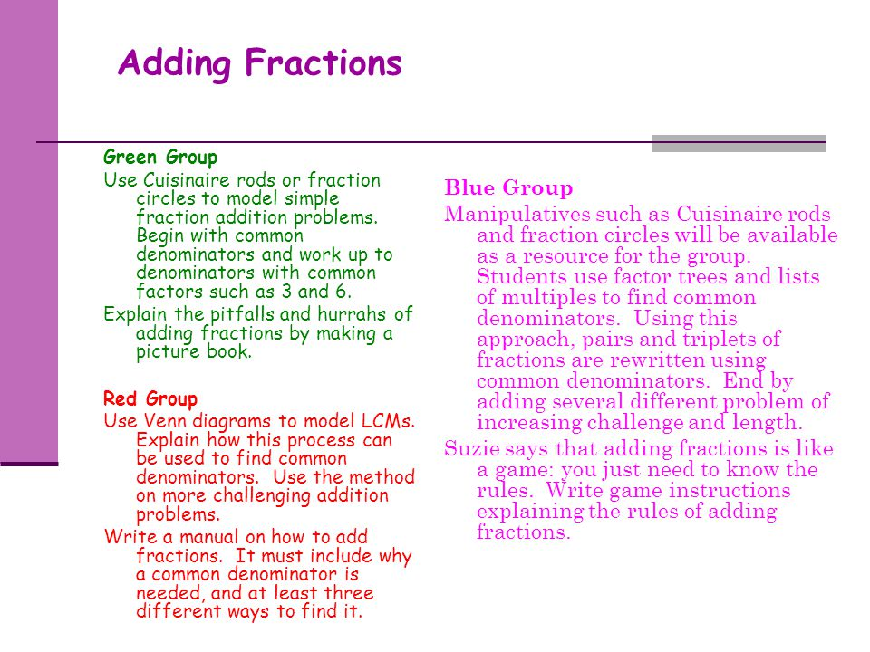 Adding Fractions Blue Group