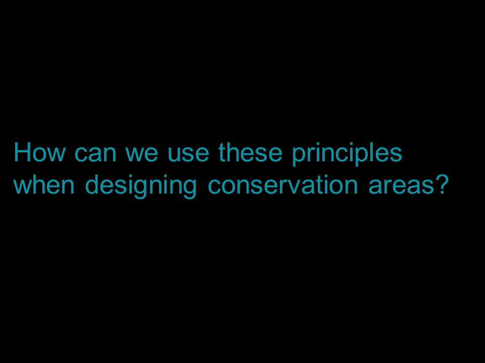 How can we use these principles when designing conservation areas