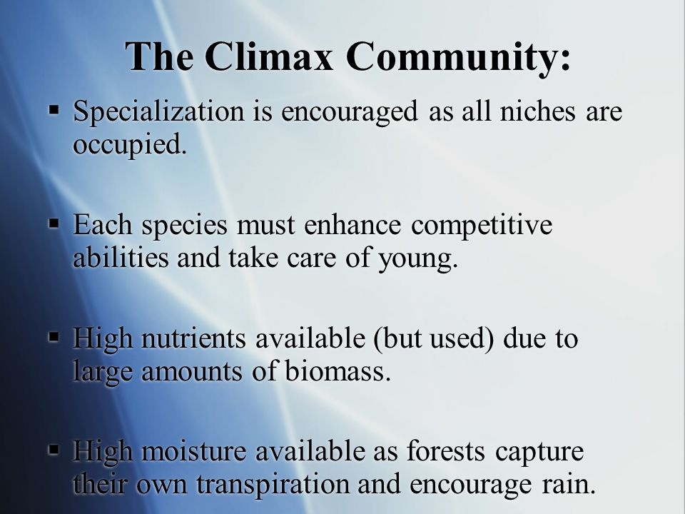 The Climax Community: Specialization is encouraged as all niches are occupied.