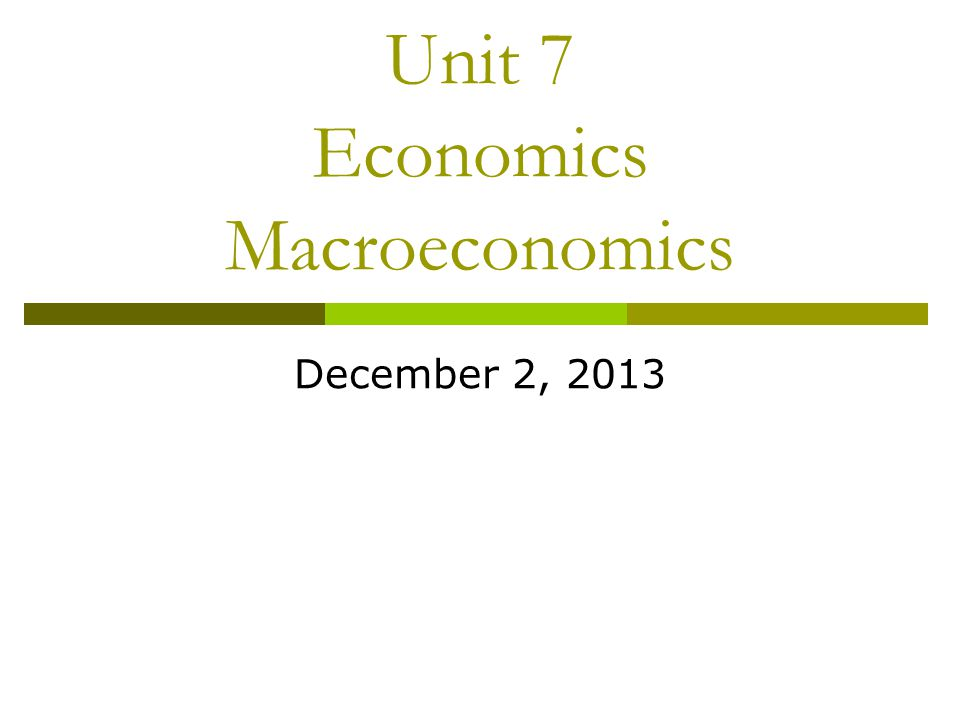 Unit 7 Economics Macroeconomics