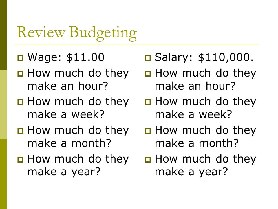 Review Budgeting Wage: $11.00 How much do they make an hour