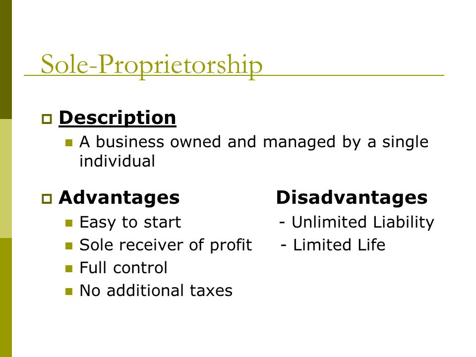 Sole-Proprietorship Description Advantages Disadvantages