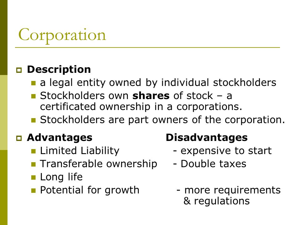 Corporation Description