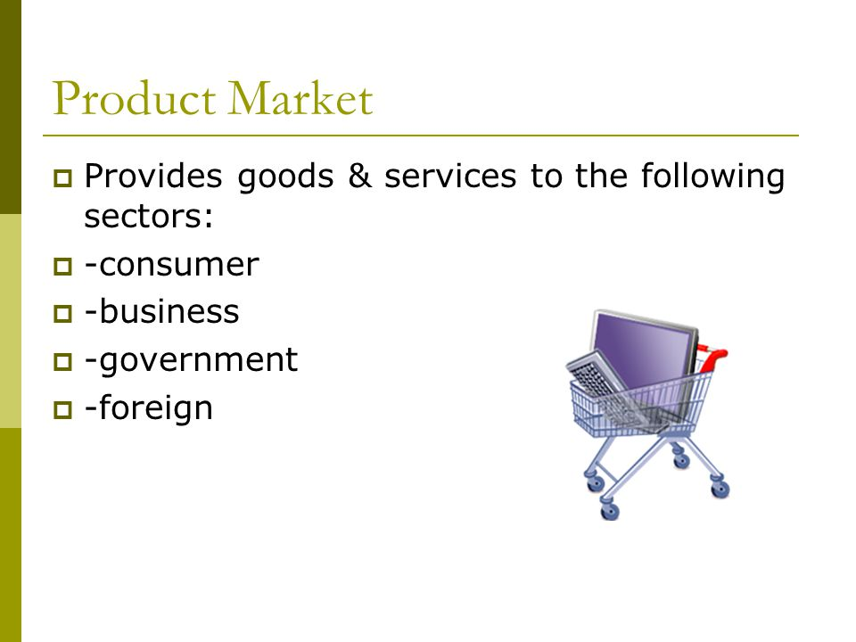 Product Market Provides goods & services to the following sectors: