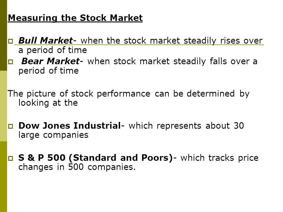 Measuring the Stock Market