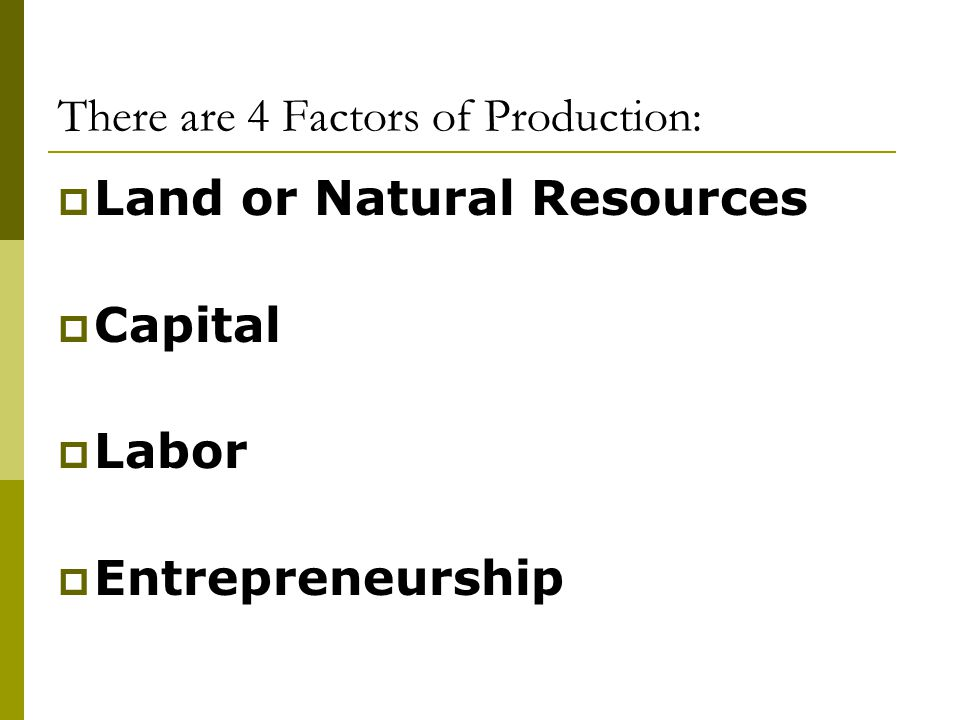 There are 4 Factors of Production: