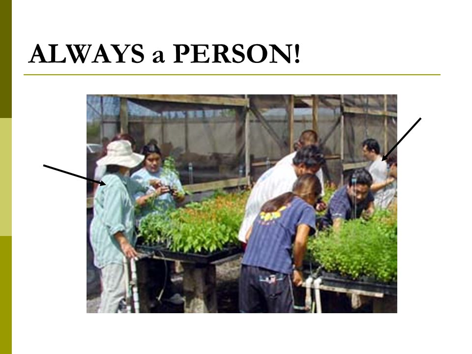 ALWAYS a PERSON!