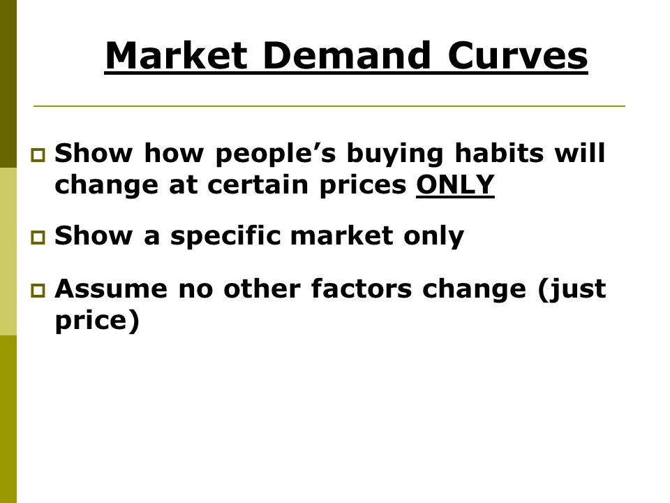 Market Demand Curves Show how people's buying habits will change at certain prices ONLY. Show a specific market only.