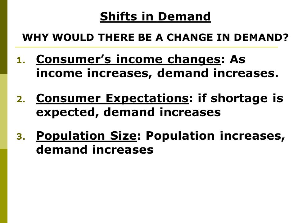WHY WOULD THERE BE A CHANGE IN DEMAND