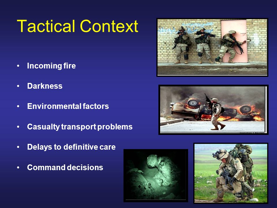 Tactical Context Incoming fire Darkness Environmental factors