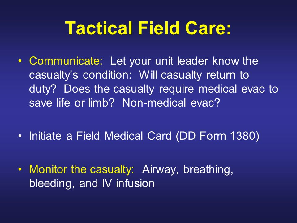 Tactical Field Care: