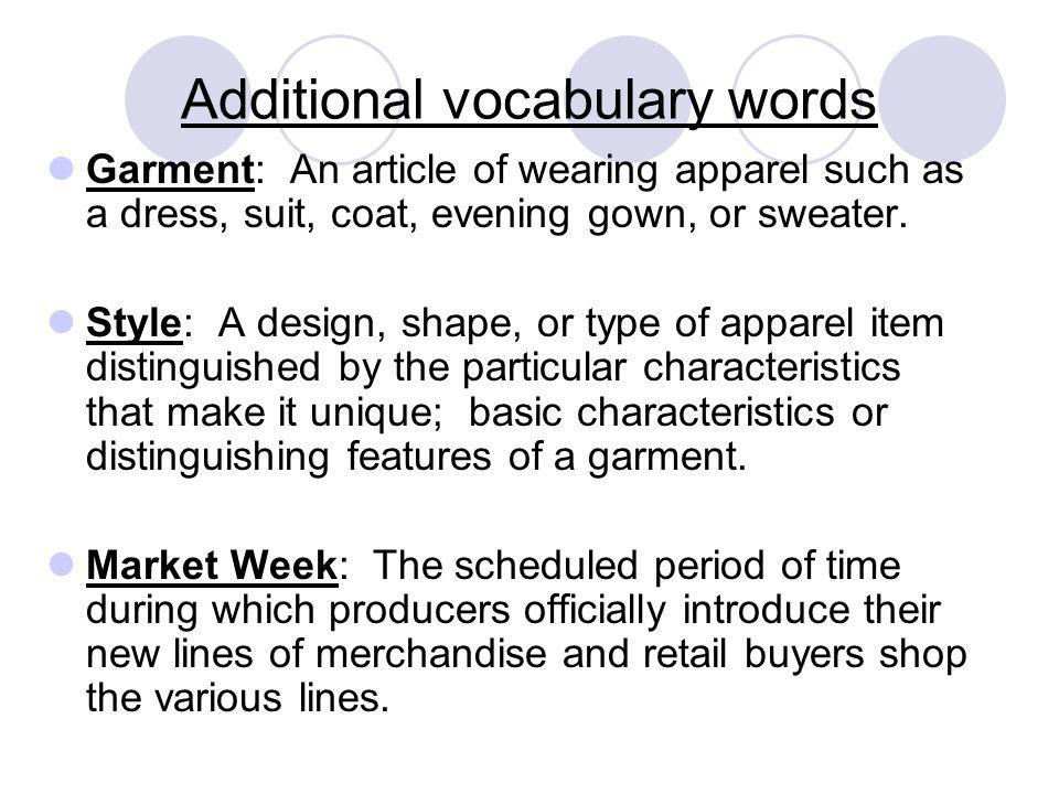 Additional vocabulary words