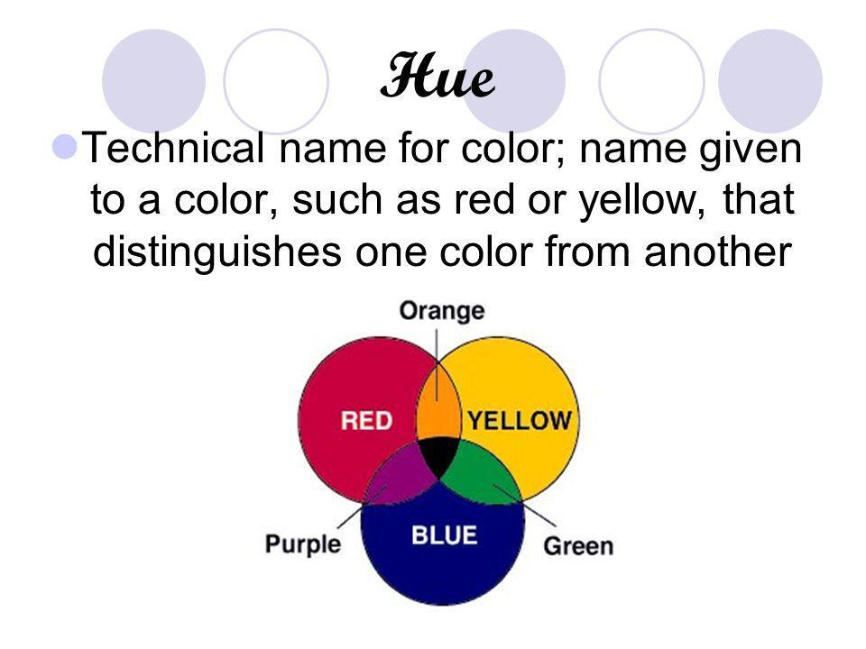 Hue Technical name for color; name given to a color, such as red or yellow, that distinguishes one color from another.