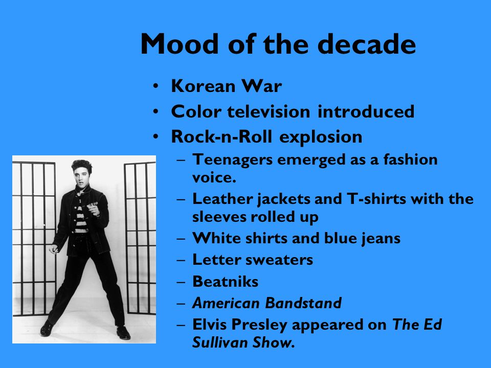 Mood of the decade Korean War Color television introduced