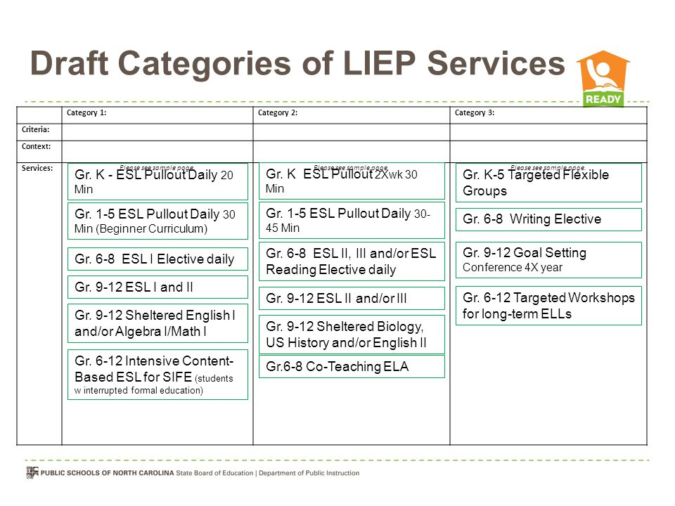 Draft Categories of LIEP Services