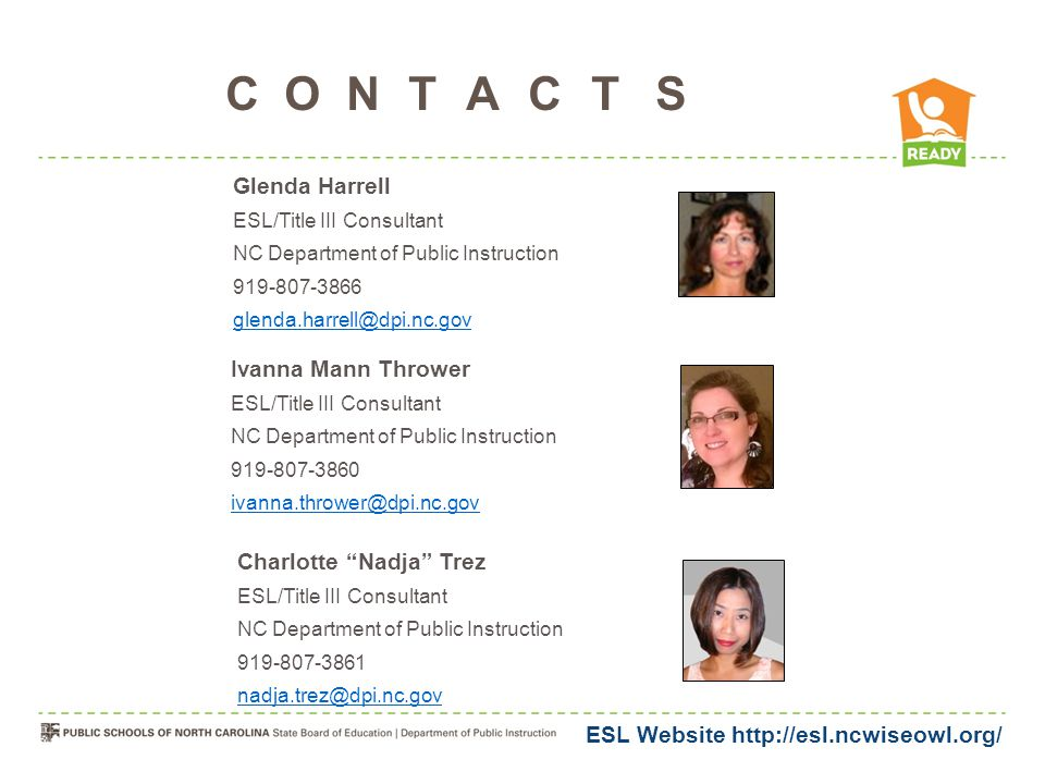 Contacts Glenda Harrell Ivanna Mann Thrower Charlotte Nadja Trez