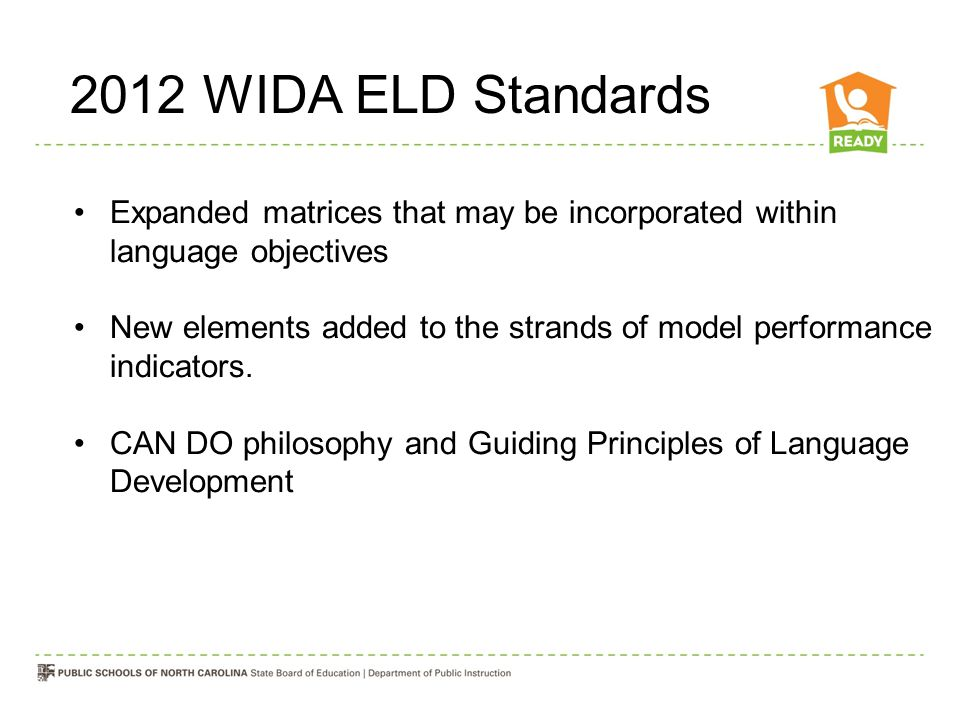 2012 WIDA ELD Standards Expanded matrices that may be incorporated within language objectives.