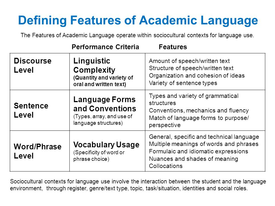 Defining Features of Academic Language