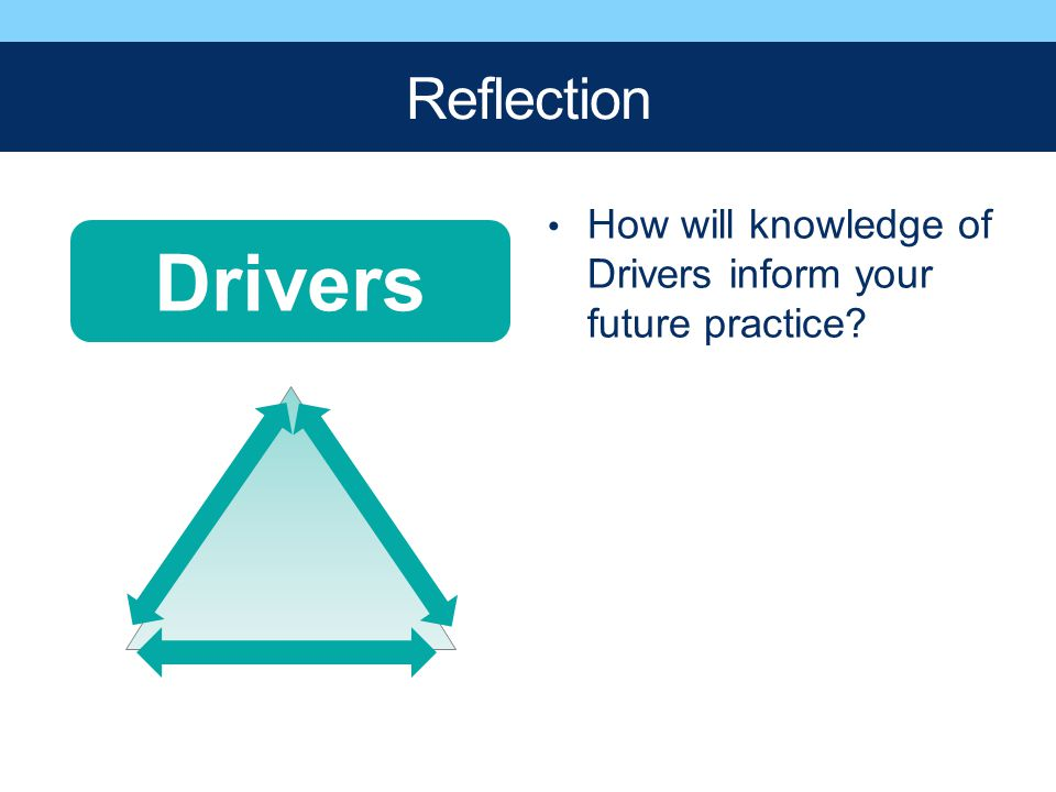 Reflection How will knowledge of Drivers inform your future practice Drivers
