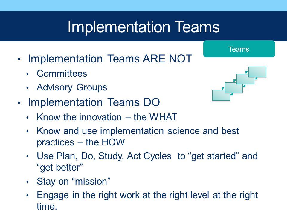 Implementation Teams Implementation Teams ARE NOT