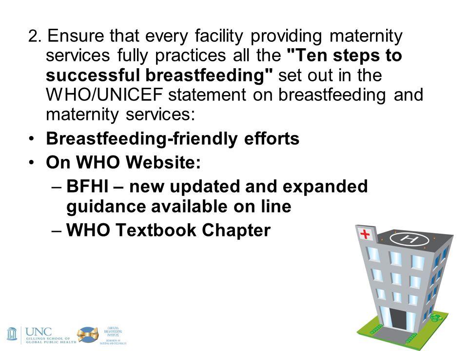 Breastfeeding-friendly efforts On WHO Website: