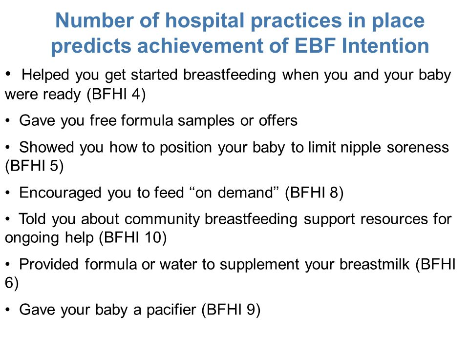 Number of hospital practices in place predicts achievement of EBF Intention