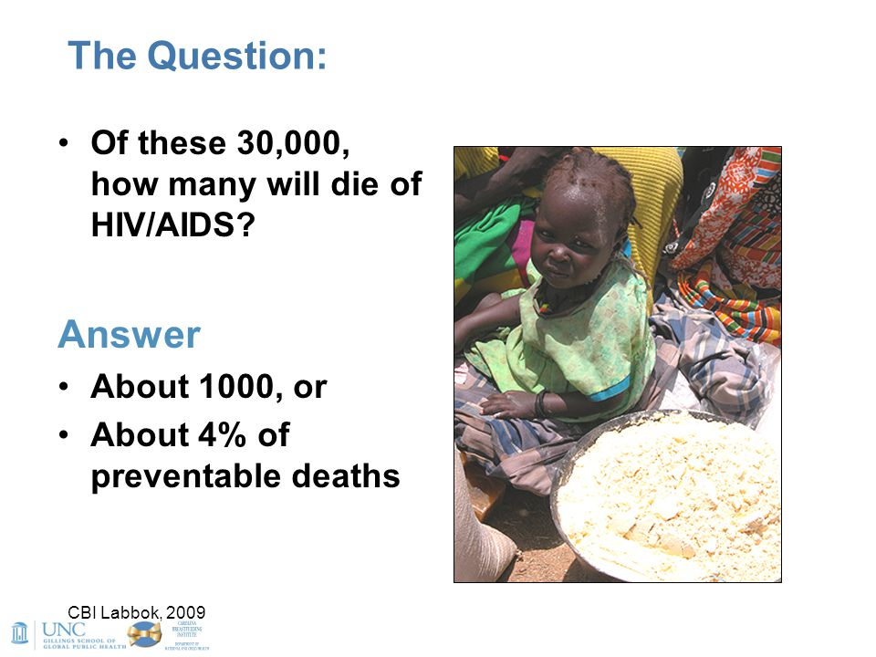 The Question: Answer Of these 30,000, how many will die of HIV/AIDS
