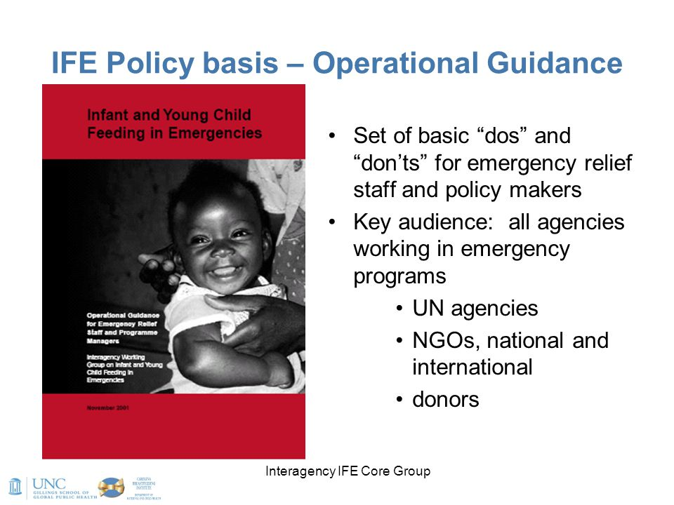 IFE Policy basis – Operational Guidance
