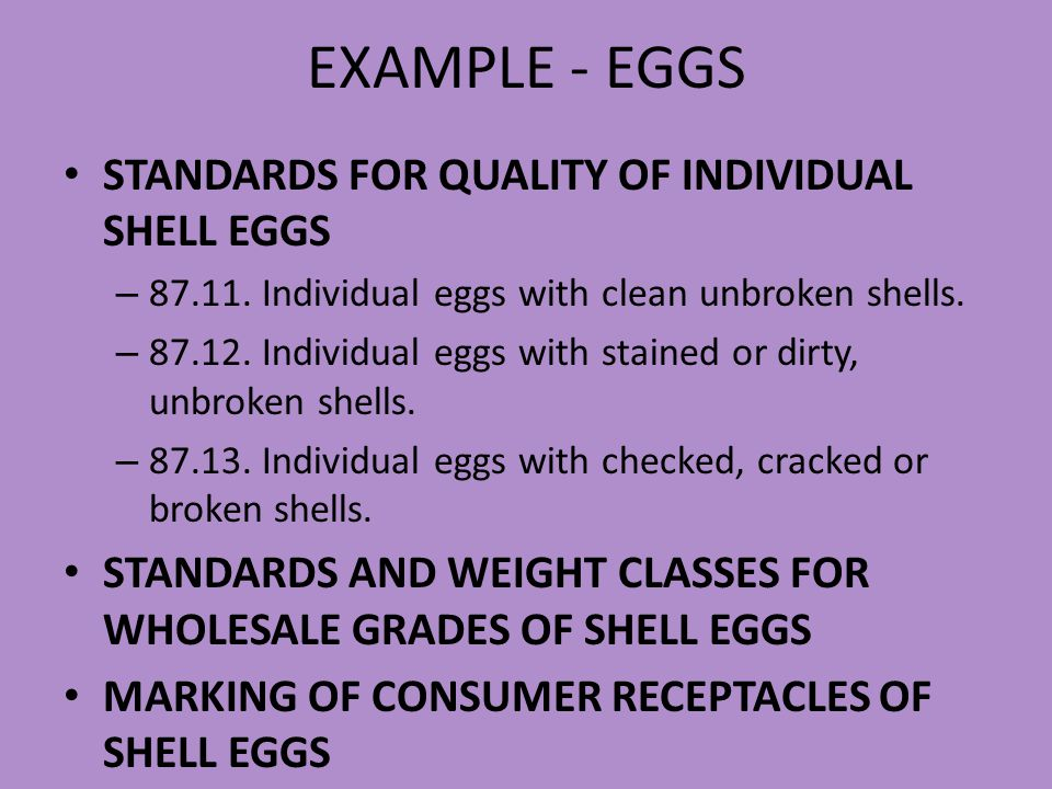 EXAMPLE - EGGS STANDARDS FOR QUALITY OF INDIVIDUAL SHELL EGGS
