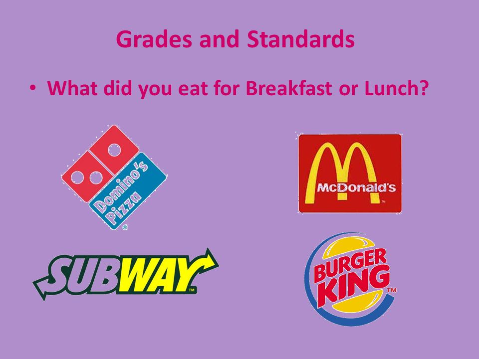 Grades and Standards What did you eat for Breakfast or Lunch