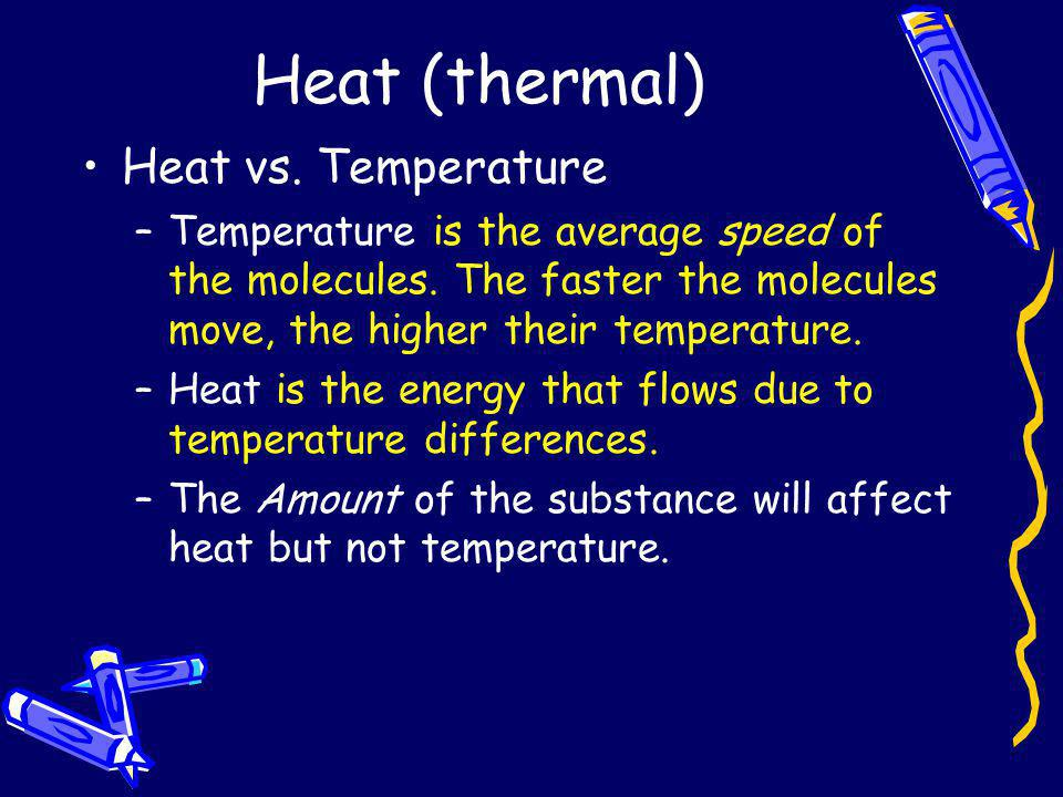 Heat (thermal) Heat vs. Temperature