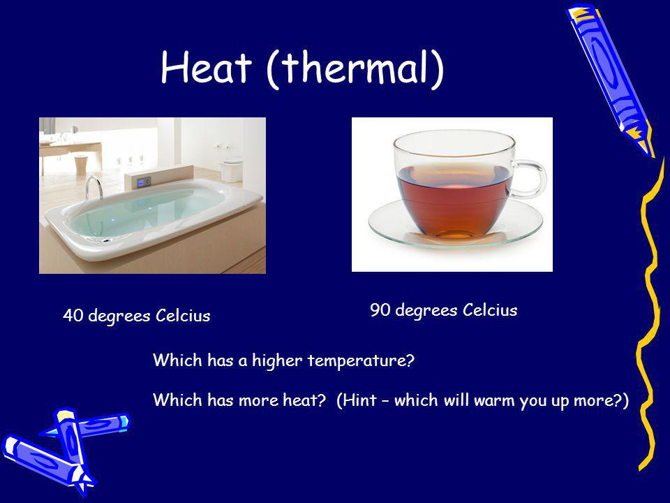 Heat (thermal) 90 degrees Celcius 40 degrees Celcius