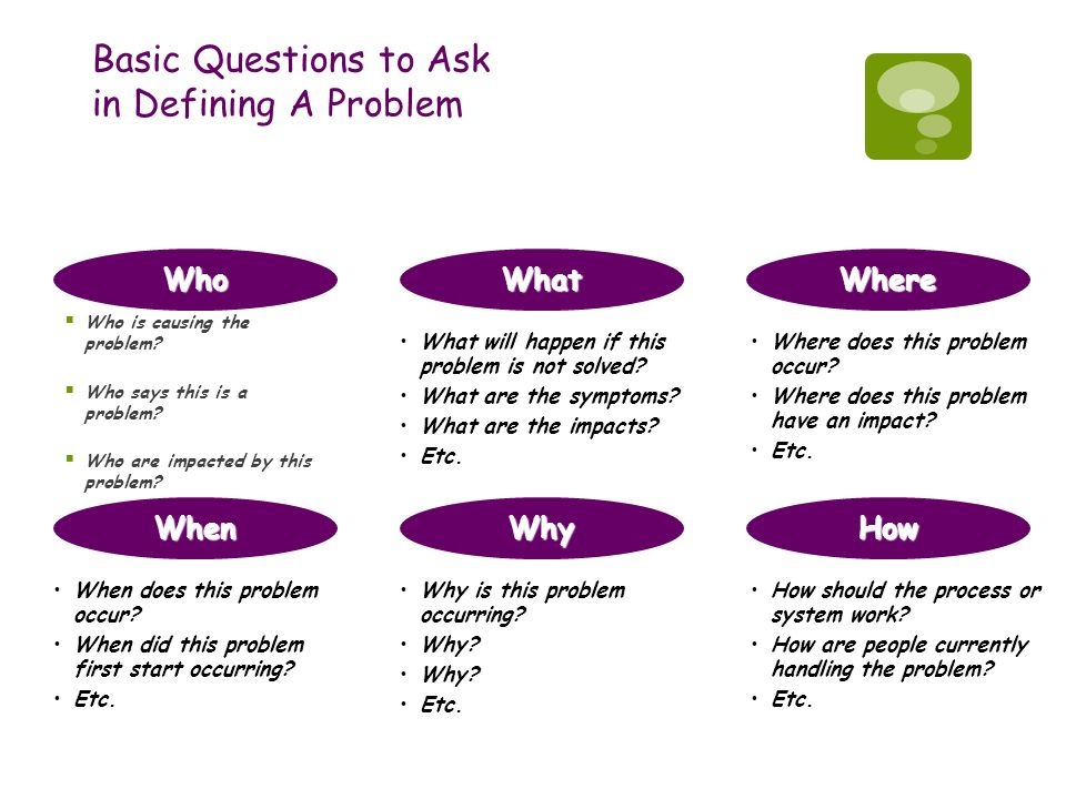 Basic Questions to Ask in Defining A Problem