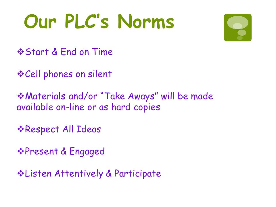 Our PLC's Norms Start & End on Time Cell phones on silent