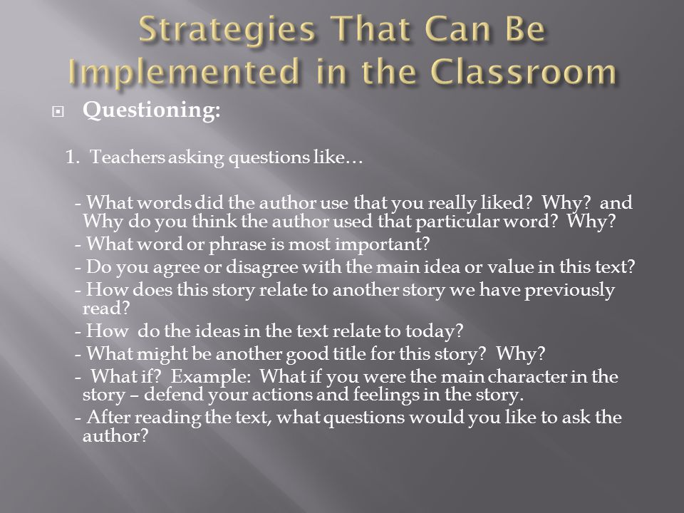 Strategies That Can Be Implemented in the Classroom