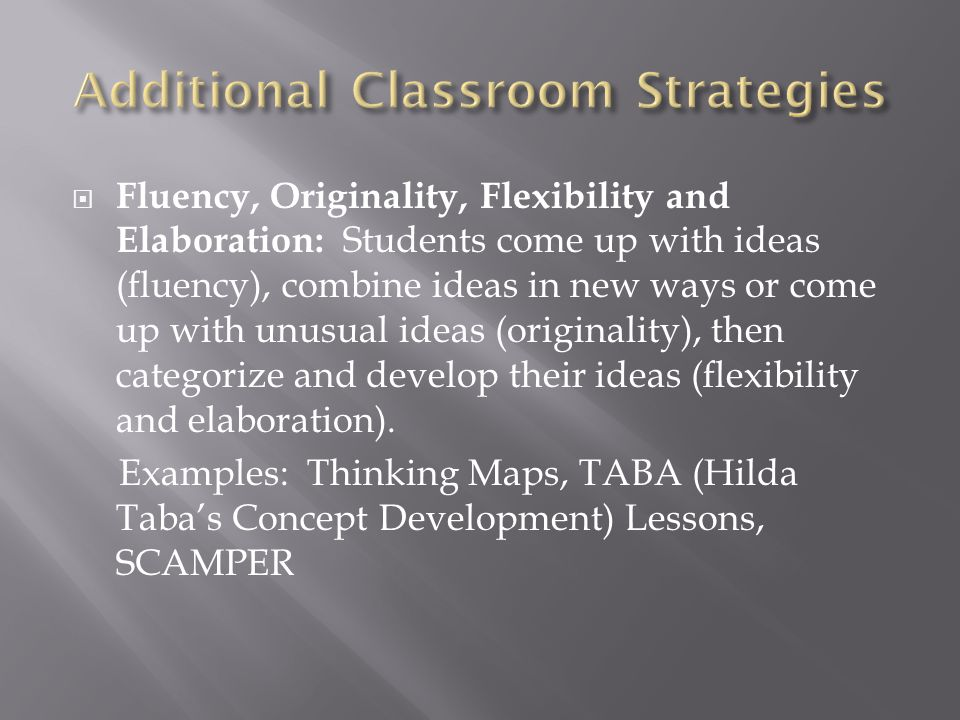 Additional Classroom Strategies