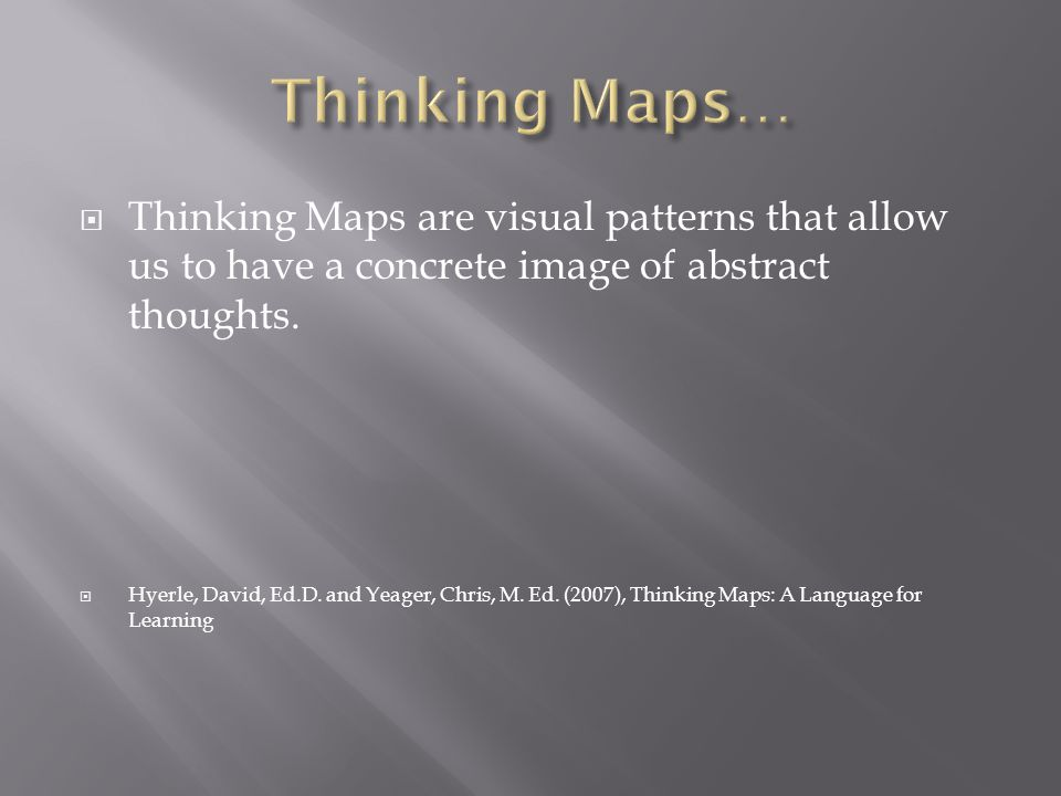 Thinking Maps… Thinking Maps are visual patterns that allow us to have a concrete image of abstract thoughts.