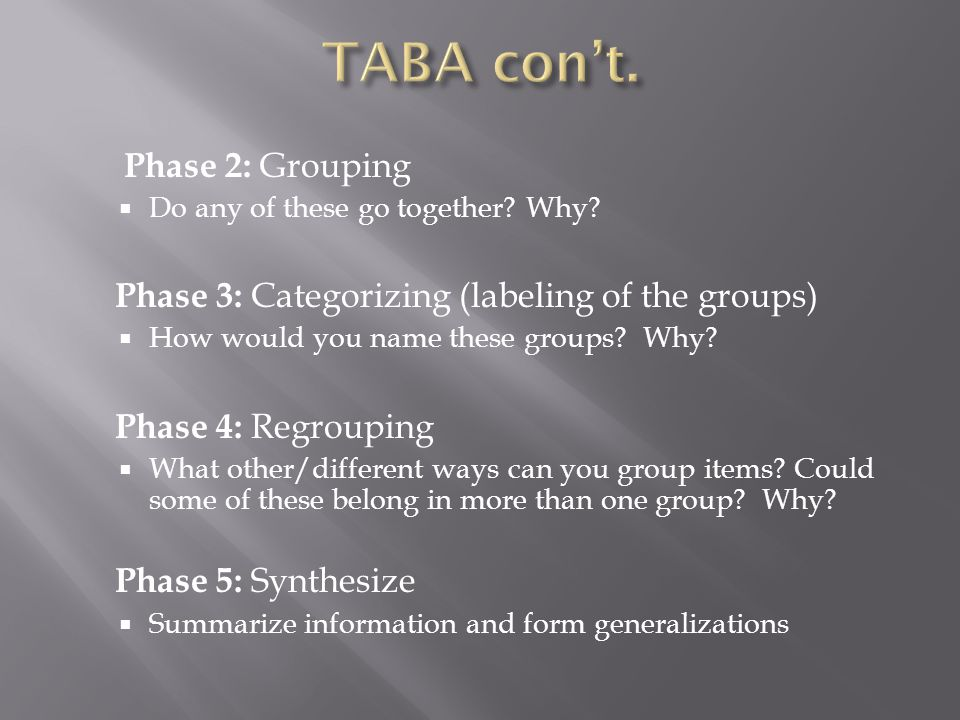 TABA con't. Phase 2: Grouping