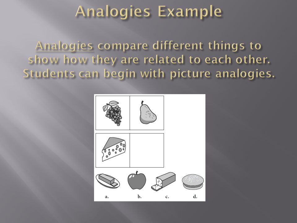 Analogies Example Analogies compare different things to show how they are related to each other.