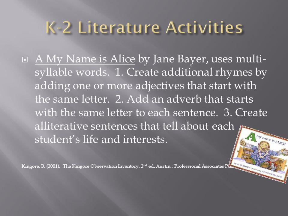 K-2 Literature Activities