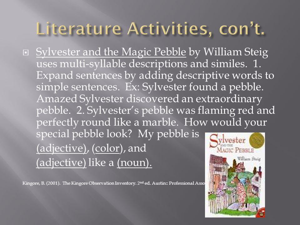Literature Activities, con't.
